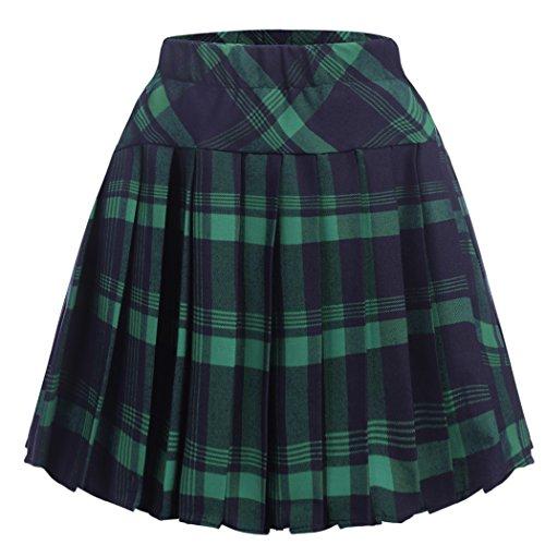 Zeagoo Women High Waisted Plaid Pleated Mini Skater Uniform School Skirt,X-Large,Green (Green Plaid Skirt)