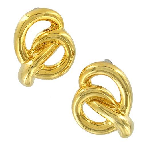 """Pierced Earrings Gold Tone Swirl Pretzel Knot Twist Bold Statement 1"""" Earrings For Women Set"""