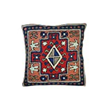 Mogul Decorative Cushion Cover Bold Embroidered Multi Color Throw Pillow Case 16X16