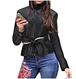 Product review for Tootless-Women Custom Fit Belt Thin Faux-Leather Jackets Short Coat