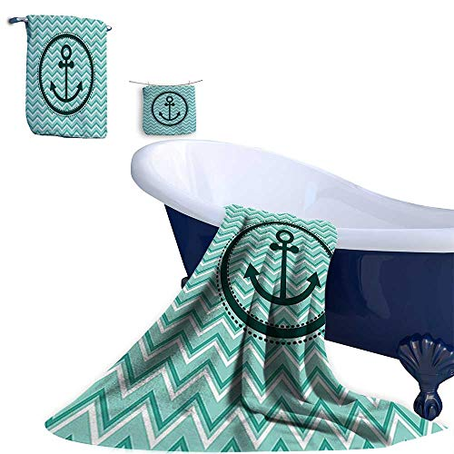 Leigh R. home 3 Piece Bath Towel Set,Horizontal Zig Zag Pattern Background Anchor Image in Circle Shape Medallion Super Soft & Absorbent Fade Resistant Cotton ()