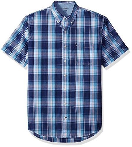 IZOD Men's Big and Tall Short-Sleeve Saltwater Plaid Shirt, Twilight Blue, 3X-Large Big from IZOD