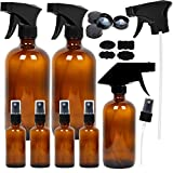 7 Amber Glass Spray Bottles, 2 Pack 16 Ounce Empty Amber Spray Bottles, 1 Pack 8 Ounce Amber Spray Glass Bottle and 4 Pack 2 Ounce Glass Amber Spray Bottles for Essential Oils
