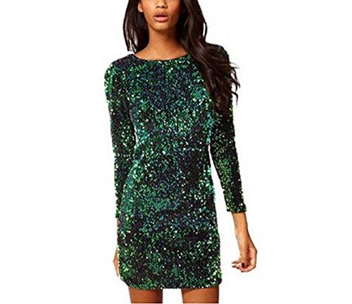 Arrowhunt Damen Mädchen Langarm Grün Pailletten Minikleid