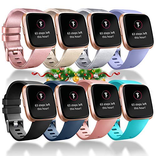 Tobfit Compatible Bands Replacement for Fitbit Versa, Silicone Wristbands Versa Accessories for Women and Men (Rose Gold/Champagne/Silver/Lavender/Black/Blue/Pink/Teal, Small) (Best Low Price Wine)