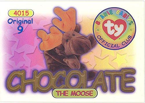 TY Beanie Babies BBOC Card - Series 1 Original 9 (BLUE) - CHOCOLATE the Moose