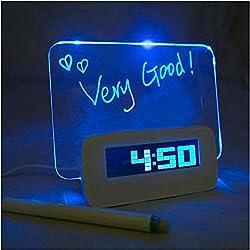 New Portable Digital Calendar Fluoresce Message Board Blue LED Light Alarm Clock