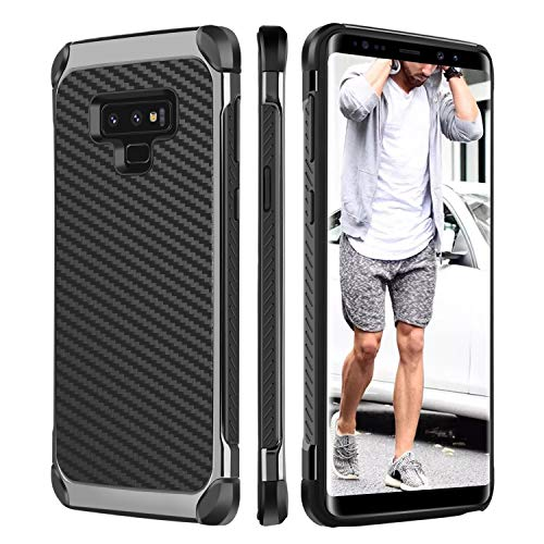 BENTOBEN Case for Samsung Note 9 Shockproof Two Layer Protective Carbon Fiber Manly Men Faux Leather Hard Case Full Body Soft Bumper Phone Case for Samsung Galaxy Note 9, Black