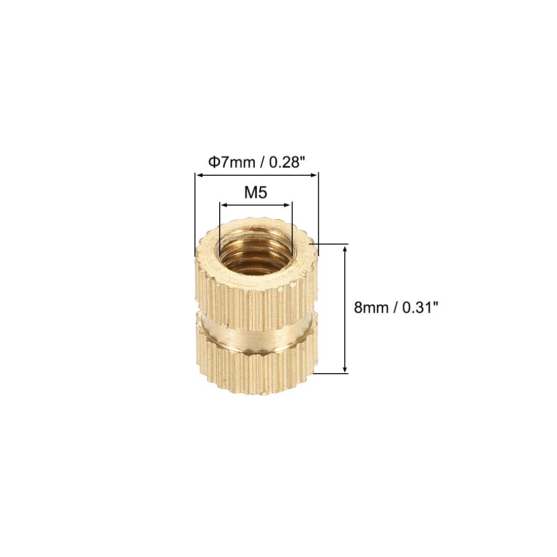 Tuercas de inserci/ón roscadas y moleteadas de lat/ón 30 ud. x 7mm L DO sourcing map M5 x 16mm