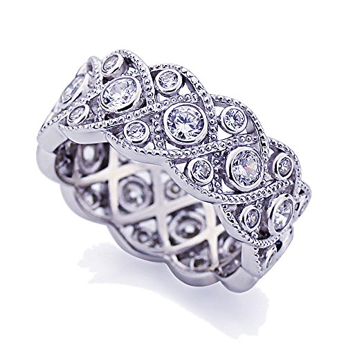 Platinum Plated Sterling Silver 1.75ct CZ Wedding Band Vintage Eternity Ring ( Size 5 to 9 ), 8
