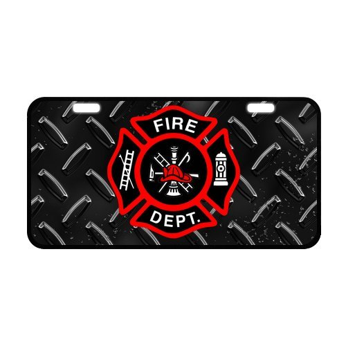 Black Friday Discount Firefighter Fireman Fire Rescue Fire Department Strong Aluminum Car License Plate 11.8