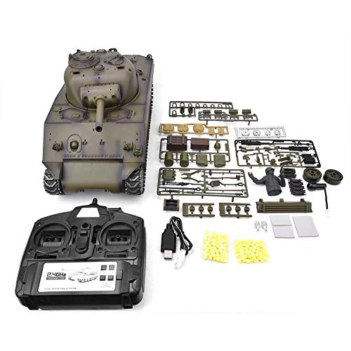 Remote Control Tank, 1:16 Scale M4A3 2.4G RC Battle Tank Model USB Charging with Rotating Turret & Light & Sound Effects…
