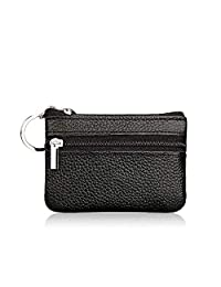 Women's Genuine Leather Coin Pouch Mini Purse Fashionable Card Wallet with Key Ring and Zipper (Black)