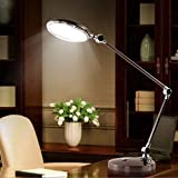 Metal LED Desk Lamp Creative Learning Reading Desk Light Simple Business Hotel Decoration Lamp Long Arm Folding Adjustable Light Touch Switch (black, Silver) ( Color : Silver )