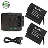 Ailuki Rechargeable Battery 2 Pack and 3-Channel Charger for GoPro HERO 5 - HERO 5 HERO 6 Black (Compatible with Firmware v02.51 - v02.00 - v01.57 and All Future Firmware Update)