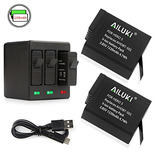 002 Battery Pack (Ailuki Rechargeable Battery 2 Pack and 3-Channel Charger for GoPro HERO 5, HERO 5 HERO 6 Black (Compatible with Firmware v02.51, v02.00, v01.57 and All Future Firmware Update))