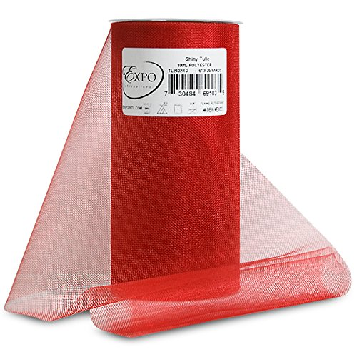Expo Shiny Tulle Spool of 25-Yard, Red
