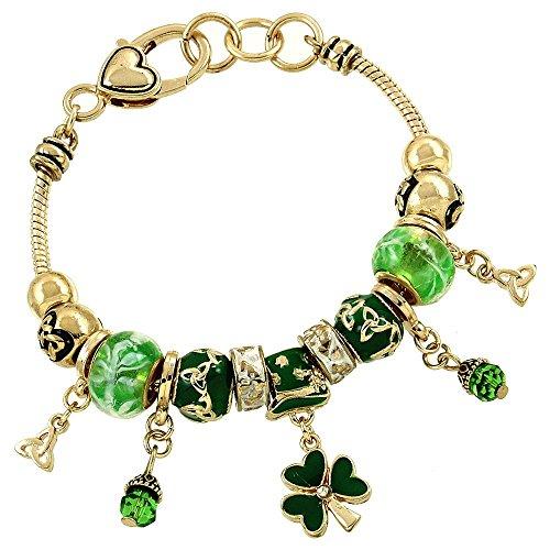 Irish Charm Bracelet BS Green Murano Beads Clear Crystal Shamrock Gold Tone - Irish Enamel Charm