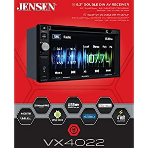 Jensen VX4022 6.2 inch LCD Multimedia Touch Screen Double Din Car Stereo Receiver with Built-In Bluetooth, CD/DVD Player & USB Port