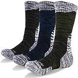 YUEDGE HM18073PXL-3PM-X-Large(US Size 9.5-12) Men's Cotton Cushion Crew Outdoor Performance Hiking Socks, XL (Men Shoe 9.5-12.5 US Size), Olive Green/Dark Blue/Dark Gray