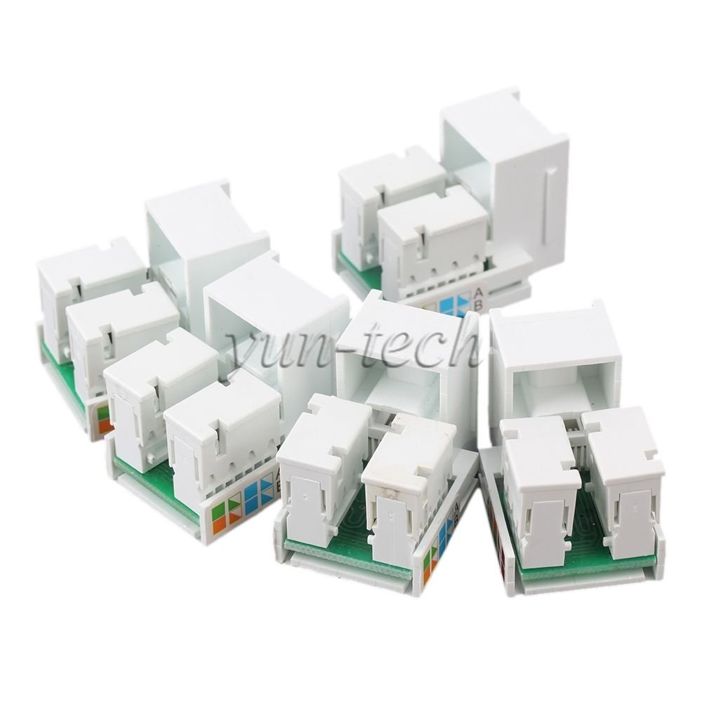 5Pcs RJ45 Cat5e Network LAN Jack Wall Plug 4 Port Patch Panel Faceplate