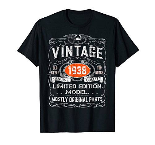 Vintage 1938 T-Shirt - 80th birthday gift shirt by Vintage Gift Tees