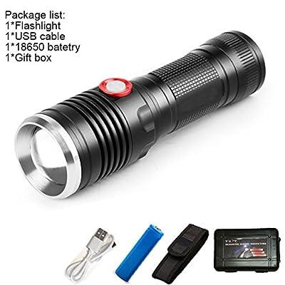 F, XML T6 : Powerful 8000LM USB CREE XM-L2 LED Tactical Flashlight Lantern Aluminum Torch Flash Light Camping Lamp with Smart Power Reminder