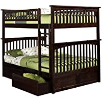 Columbia Bunk Bed with 2 Flat Panel Bed Drawers, Full Over Full, Antique Walnut