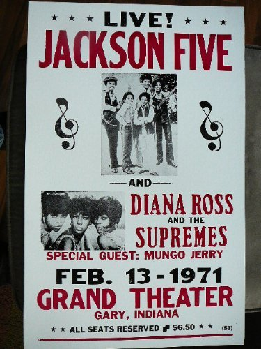 Jackson five and diana ross and the supremes poster 1971 for Jackson 5 mural gary indiana