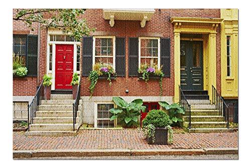 Boston, Massachusetts Street in Beacon Hill Neighborhood Photography A-91120 (20x30 Premium 1000 Piece Jigsaw Puzzle, Made in USA!)