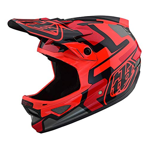 Troy Lee Designs Adult Full Face | BMX | Downhill | D3 Fiberlite Speedcode Mountain Biking Helmet with MIPS (Medium, Red) (Racing Bmx Parts)