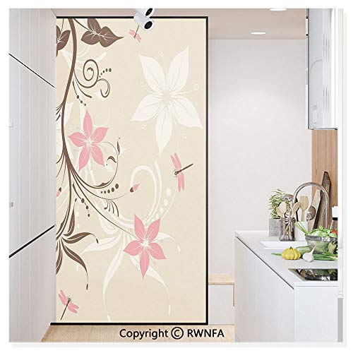 Window Film No Glue Glass Sticker Floral Background with Dragonflies and Spiral Fashioned Foliage Bud Elements Print Static Cling Privacy Decor for Kitchen Bathroom 17.7x59.8inches,Brown Tan