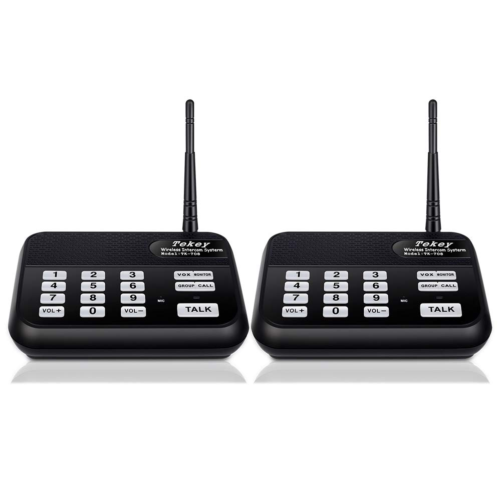 Wireless Intercom System (2018 Version), TekeyTBox 1800 Feet Long Range 10 Channel Digital FM Wireless Intercom System for Home and Office, Walkie Talkie System for Outdoor Activity (2 Stations Black)
