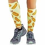 Zensah Print Compression Leg Sleeves - Hot Dogs // Mustard Yellow - XS/S