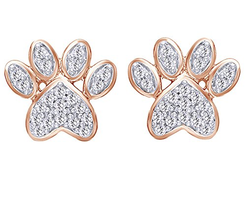 Valentines' Day Round Cut White Natural Diamond Paw Print Stud Earrings in 10K Solid Gold by Wishrocks