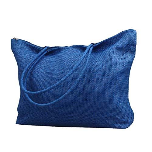 New in Respctful✿Women Straw Woven Tote Large Beach Handmade Weaving Shoulder Bag Handbag Blue