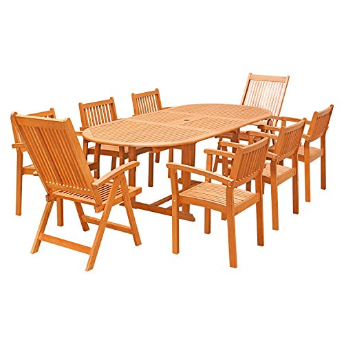 Butterfly Folding Tables (VIFAH V144SET31 9 Piece Outdoor Wood Dining Set with Extension, Folding Armchairs and Stacking Chairs)