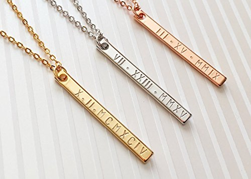 A Roman Numerals Bar Necklace Personalized Bridesmaid Gift Mothers Day Gift for Her Graduation Sister Gift - 6N