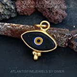925 K Silver Handmade Granulated Turkish Evil Eye Pendant 24k Gold Vermeil