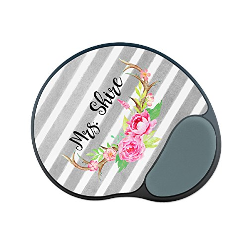 Personalized Wrist Rest Mouse Pad - Tan Stripe Floral Underline - Custom Personalize Gift Mouse Pad
