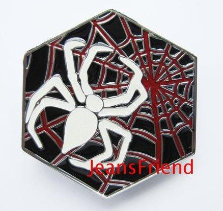belt buckles men western cowboys cool vintage harley Spider white web red - Cool Red Buckle Black Belt