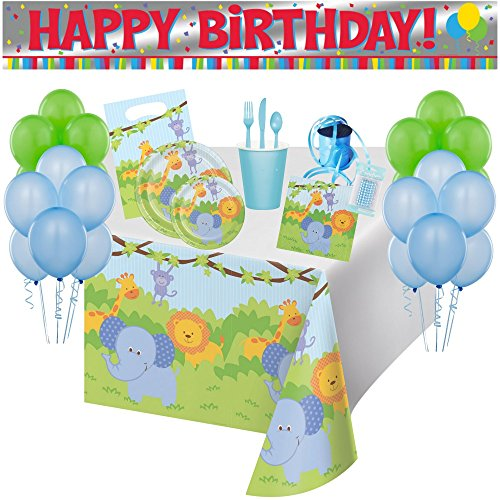 Jungle Friends 113pc Birthday Party Supply Pack Serving 8 Guests!! Bundle Includes Plates, Napkins, Cups, Cutlery, Treat Bags, Candles, Tablecover, Birthday Banner, Balloons and Curling Ribbon!