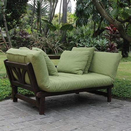 Delahey Studio Converting Outdoor Sofa, Brown with Green Cushions