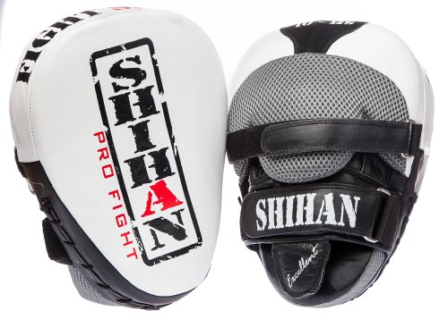 SHIHAN-CHAMP Exclusive LEATHER Punch Mitts, Focus Pads Pads SHIHAN WHITE 1 Pair by Shihan