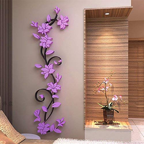 Adarl DIY 3D Crystal Arcylic Wall Stickers Modern Removable Wall Art Floral Design for Home Decor