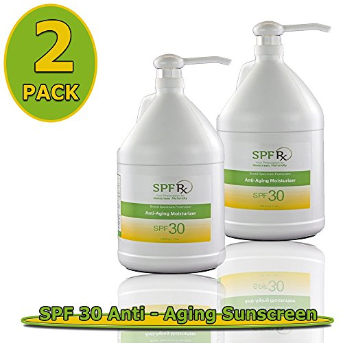 SPF 30 Anti-Aging Moisturizer 2 Pack – For Healthy & Nourishing Skin To Prevent Sunburn - Early Aging, Reduce Aging Spots, Tighten Skin (1 Gallon/128 Oz- 2 Pack) by SPF Rx