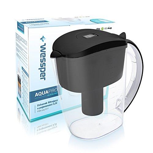 Wessper Jarra de Agua alcalina con 1 Cartucho Negro reemplazo para Epic Water Filters 3,5L