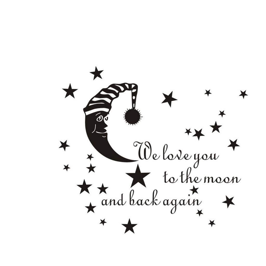 Cyhulu Creative Removable Window Wall Decal, 2019 New Fashion Kawaii Moon Star Letter Mural Stickers for Baby Bedroom Living Room Wall Art DIY Vinyl Decor