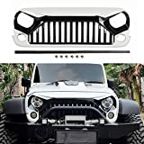 Topfire Upgraded Front Grill with Strip, Clips and Rivets for Jeep Wrangler Rubicon Sahara Sport JK/JKU 2007-2018 (White & Black)