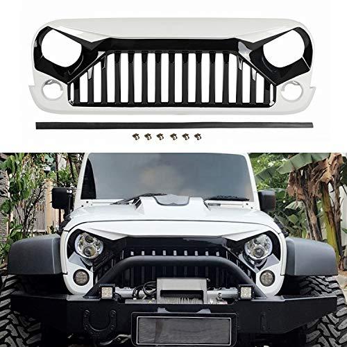 TOPFIRE Upgraded Front Grill for Jeep Wrangler JK/JKU 2007-2018, Including Rubicon, Sahara and Sport, White & Black (White & Black)